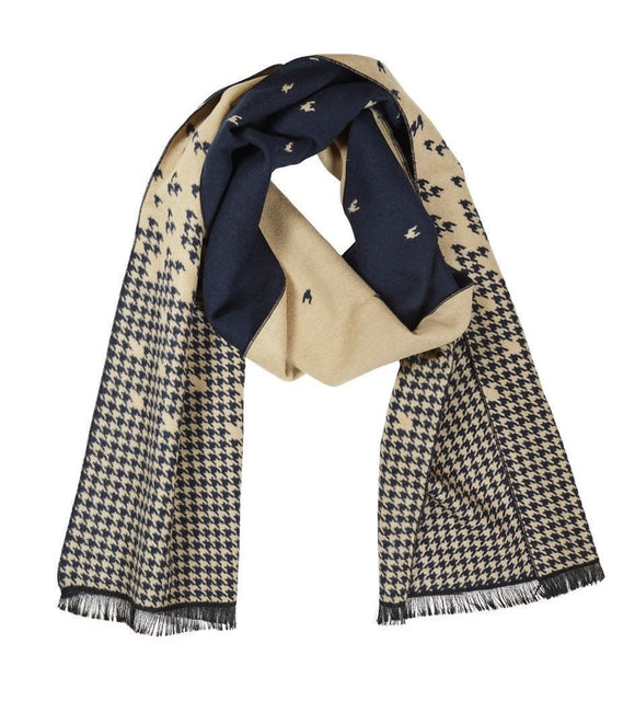 Quintessential Men's Scarf Navy & Camel Dog Tooth Pattern - Caths Direct