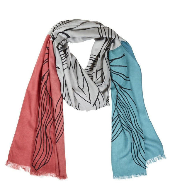 Quintessential Ladies Sketch Scarf Turquoise & Berry Colour - Caths Direct