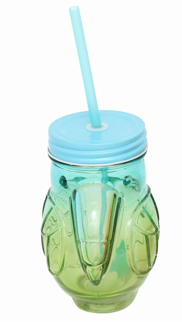 400ML Toucan Style Drinking Jar With Straw Blue & Green