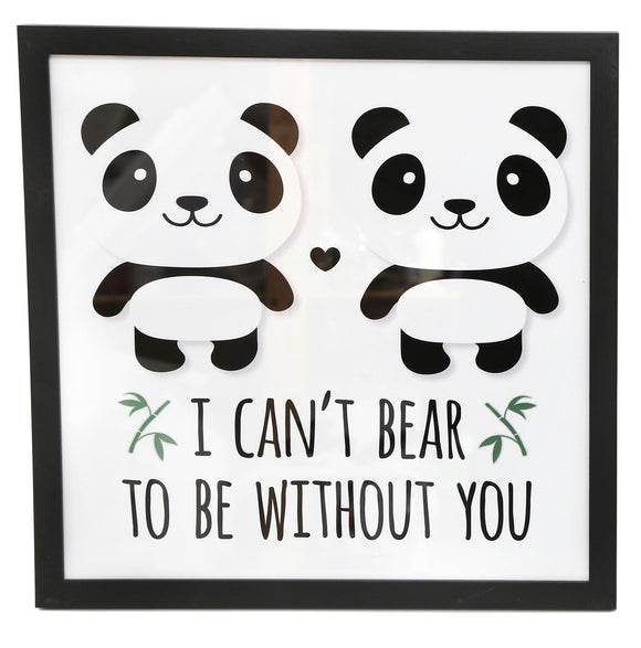30cm x 30cm Panda Style Photo Print 'Without You' - Caths Direct