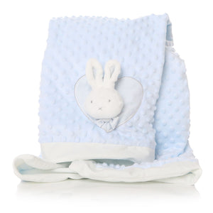 Blue Baby Blanket with White Bunny