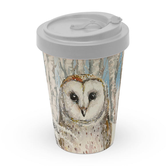 Emma the Barn Owl Christmas Design Bamboo Eco-Friendly Travel Mug - Caths Direct