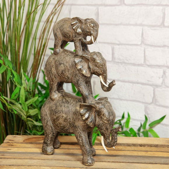 Naturecraft 3 Elephant Tower Ornament - Caths Direct