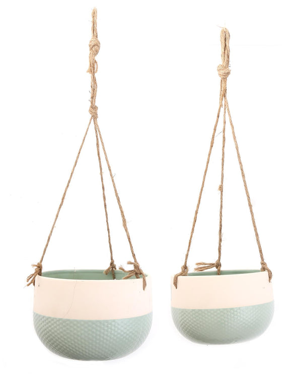 Set of 2 Ceramic Hanging Planter Pots Green Base