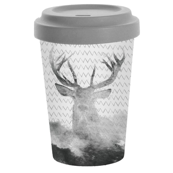 Bamboo Travel Mug Deer Grey Watercolour Design - Caths Direct