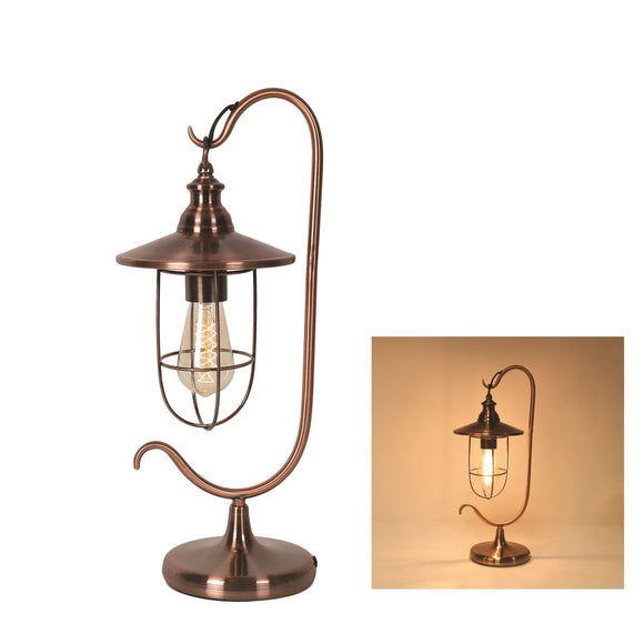 Copper Effect Edison Bulb Desk Lamp - Caths Direct