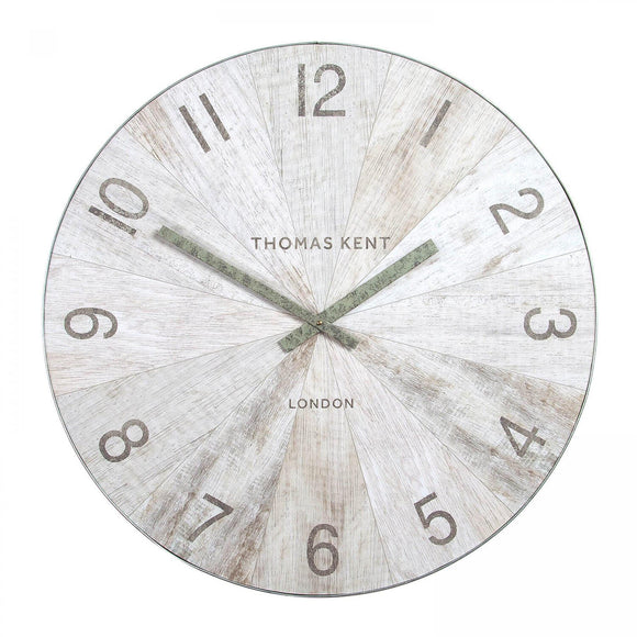 Wharf Pickled Oak Oversized Wall Clock 30