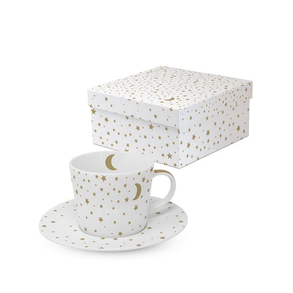Moonlight Design with Gold Espresso Cup & Saucer Boxed Set by PPd - Caths Direct