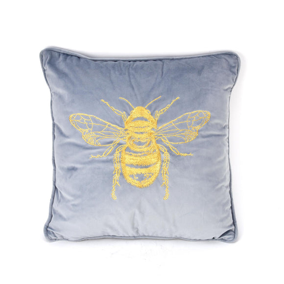 Hestia Home Grey Velour Cushion with Gold Embroidered Bee - Caths Direct