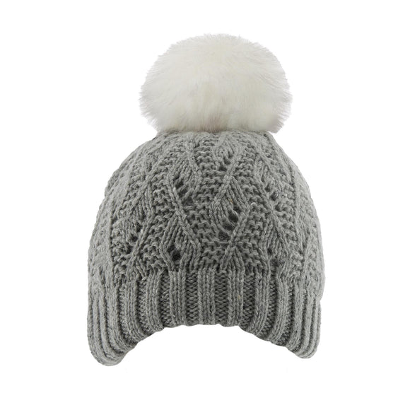 Dents Lace Knit Hat withFaux Pom Pom Dove Grey - Caths Direct