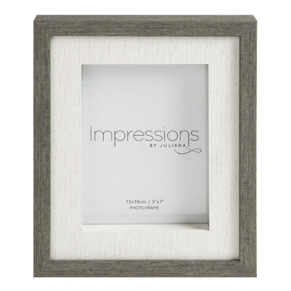 Grey Wood Effect Box Photo Frame 5 x 7