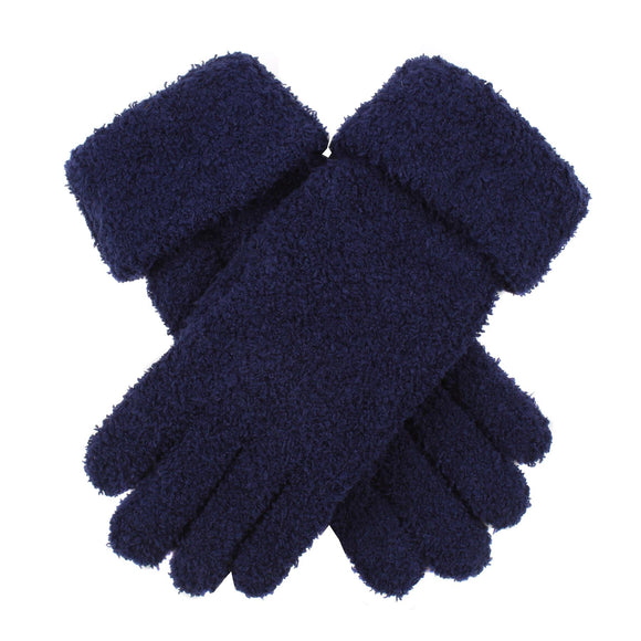 Dents Womens Soft Knitted Sponge Yarn Gloves Navy Blue - Caths Direct