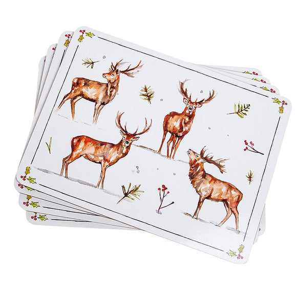 Winter Stag Design Set of 4 Table Mats - Caths Direct