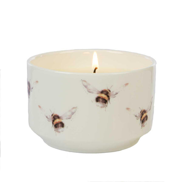 Wrendale Bumble Bees Illustration Ceramic Trinket Jar Candle Hedgerow - Caths Direct