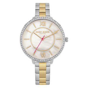 Daisy Dixon Becca Ladies Watch Two Tone Bracelet Stone Set Bezel - Caths Direct