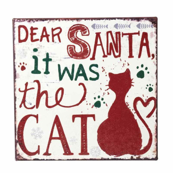 Dear Santa Metal Cat Sign - Caths Direct