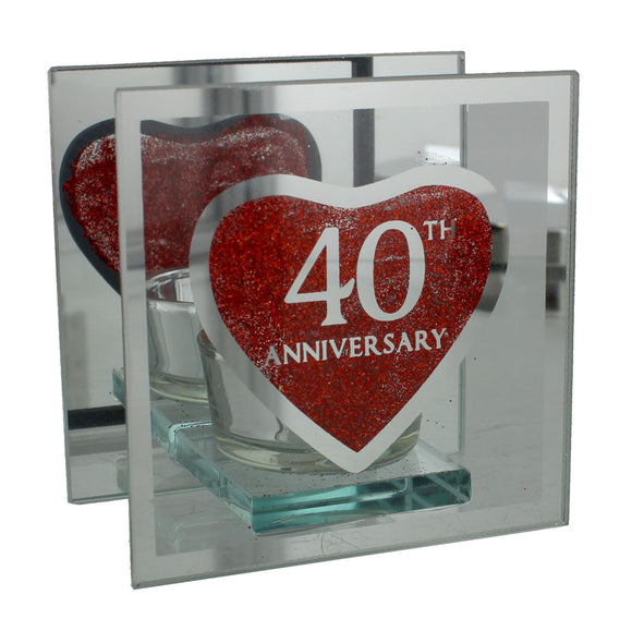 40th Anniversary Heart Glass Single Tea Light Holder - Caths Direct