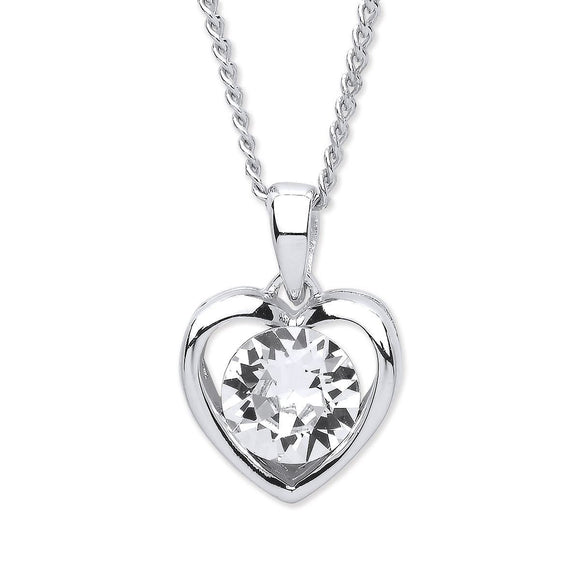 Purity Rhodium Plated Crystal Heart Pendant - Caths Direct