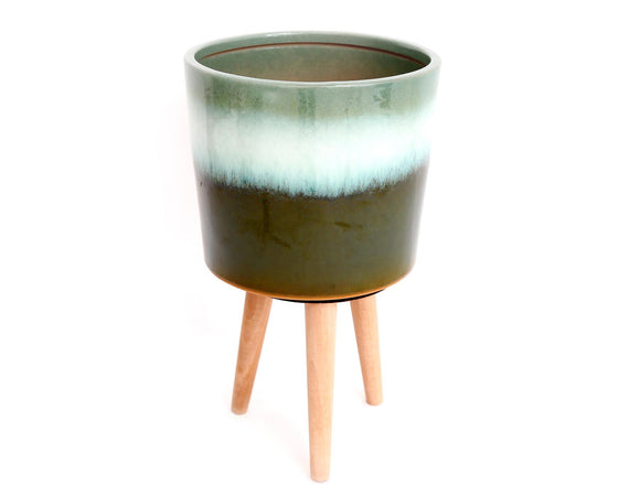 Green Ceramic Planter on Wooden Base 31cm - Caths Direct