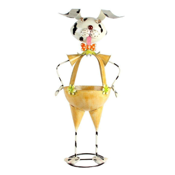 Metal Standing Dog Garden Planter
