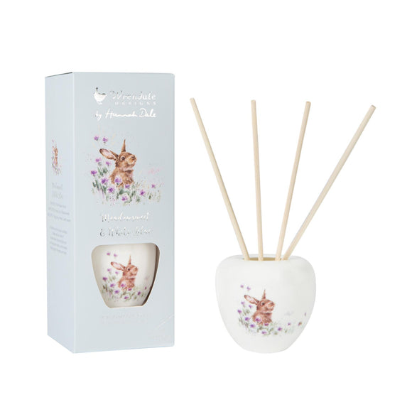 Wrendale Rabbit Illustration Ceramic Reed Diffuser Set 200ml Meadow - Caths Direct