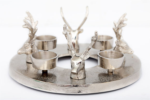 Stags Head Round Tea Light Candle Holder