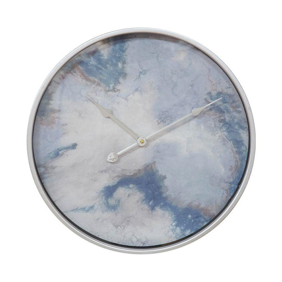 Hestia Blue & Silver Metal Wall Clock Abstract Design - Caths Direct