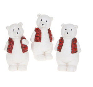 Trio of Polar Bears with Red Bodywarmers - Caths Direct