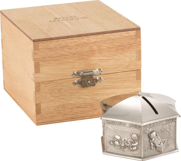 Royal Selangor Teddy Bears Picnic Umbrella Money Box in Wooden Chest