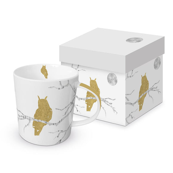 Mystic Owl Design Trend Mug with Real Gold Finish and Matching Gift Box - Caths Direct