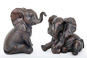 Bronze Effect Elephant Figurine Choice of 2 - Caths Direct