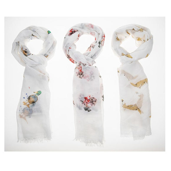 Country Animals Printed Scarf - Caths Direct