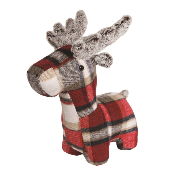 Red Checked Tartan Fabric Reindeer Doorstop