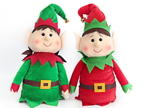 Festive Elf Doorstop Green or Red - Caths Direct
