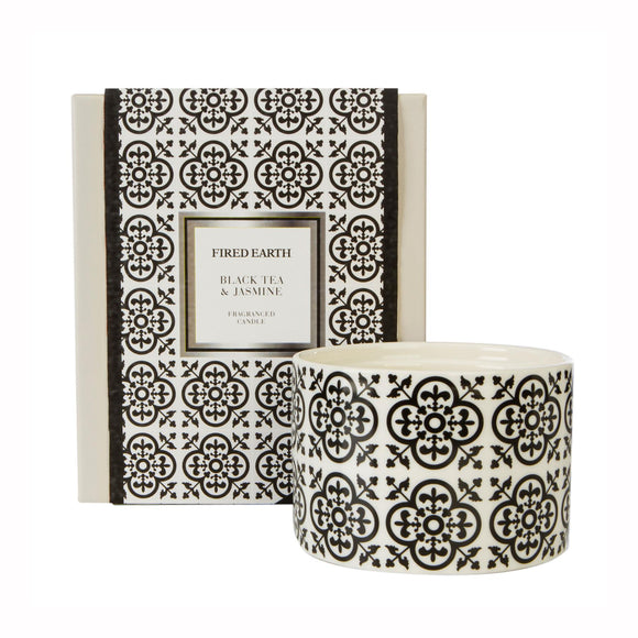 Fired Earth Design Large Ceramic Candle Black Tea & Jasmine - Caths Direct