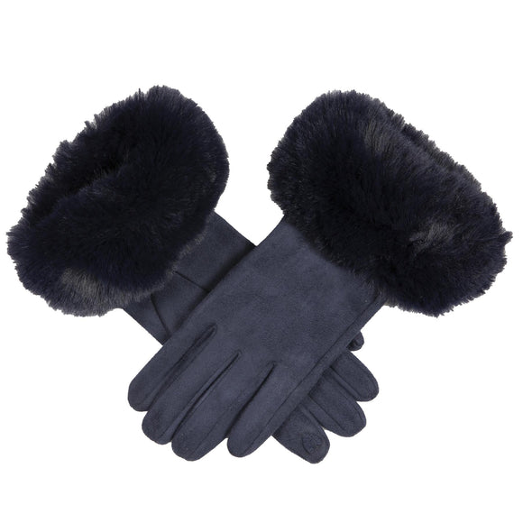 Dents Ladies Soft Faux Suede Touchscreen Fingertip Gloves with Faux Fur Cuff in Navy