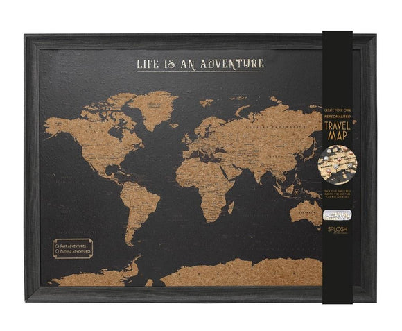 Framed Large Travel Board World Map with Marker Pins Dark Brown Colour - Caths Direct
