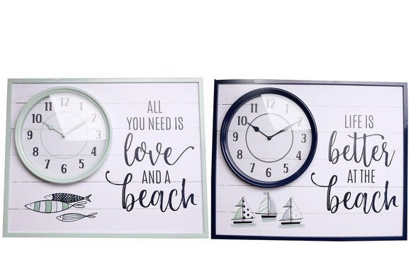 Beach Panel Wall Clock Choice of 2 Colours - Caths Direct