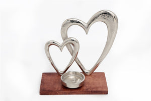 Double Hearts Tea Light Candle Holder on Plinth