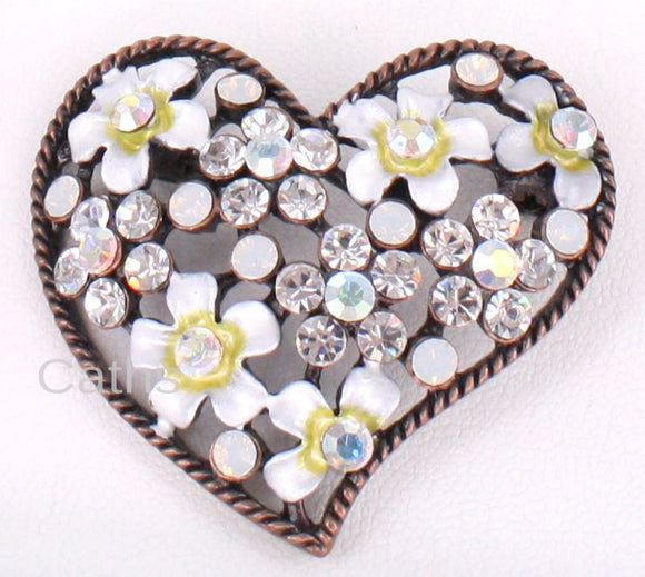 Flowers Heart Brooch - Caths Direct