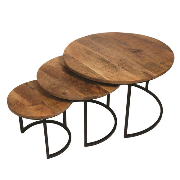 Set of 3 Rustic Mango Wood Round Nesting Tables