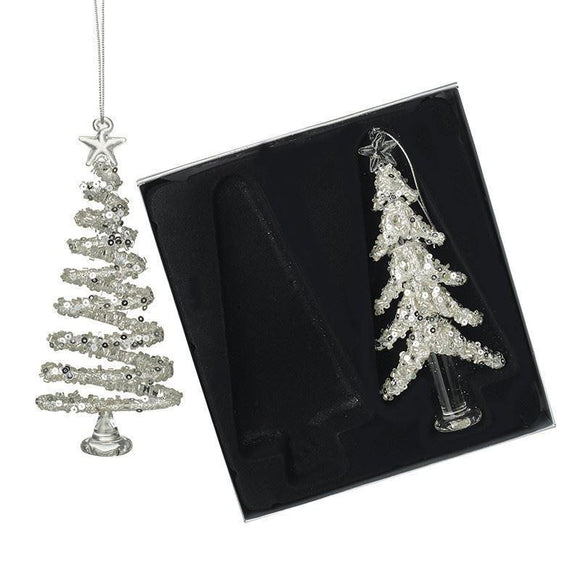 Glass Christmas Tree Hanging Decorations Pk of 2 - Caths Direct