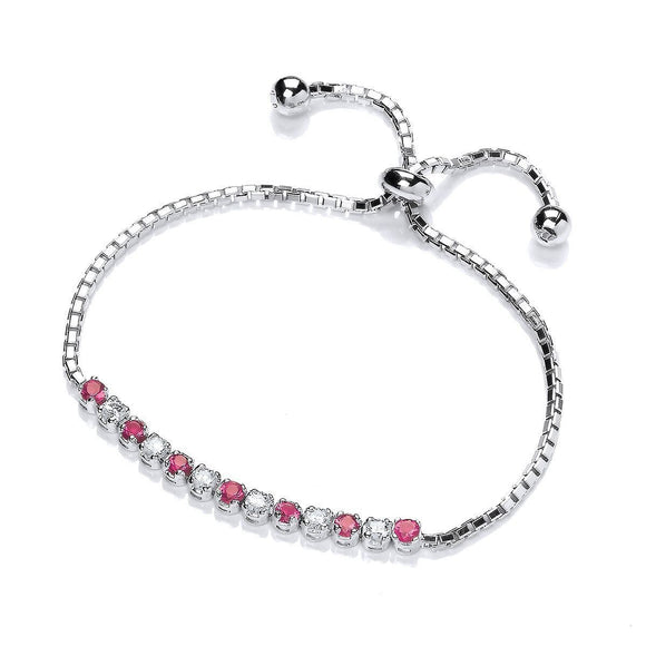 Purity Sterling Silver Rhodium Plated Bracelet Red & White CZ Stone Set - Caths Direct