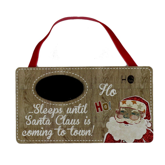 Santa Hanging Plaque Sleeps Until Christmas - Caths Direct