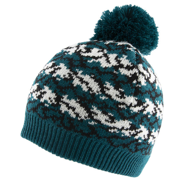 Dents Reptile Print Knitted Beanie Hat with Pom Pom in Petrol Colour