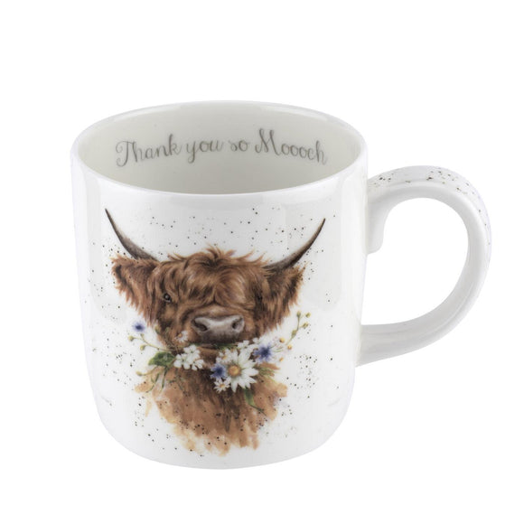 Royal Worcester Wrendale Design Highland Cow Fine China Mug Thank You Sentiment - Caths Direct