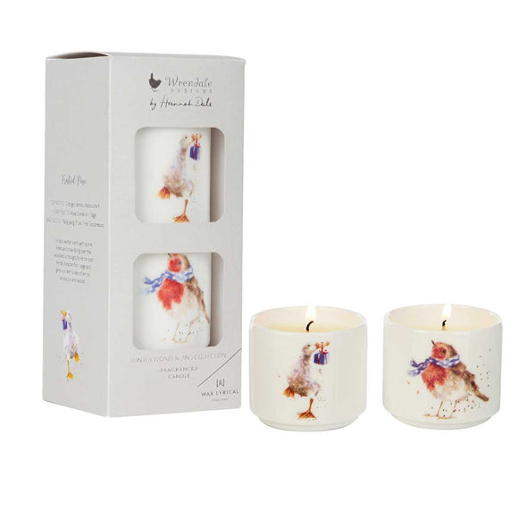 Wax Lyrical Wrendale Birds Illustration Ceramic Candles Gift Set Winter Wonderland - Caths Direct