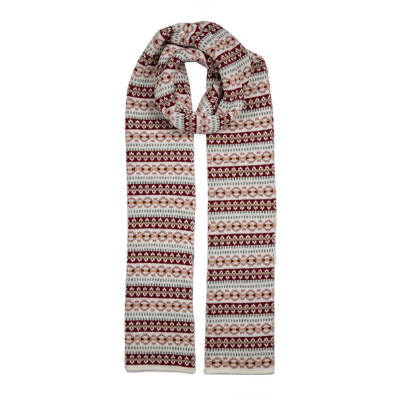 Dents Fair Isle Striped Pattern Knitted Scarf in Winter White - Caths Direct