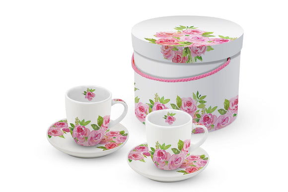 Merci! Roses Design Espresso Cups & Saucers Set - Caths Direct