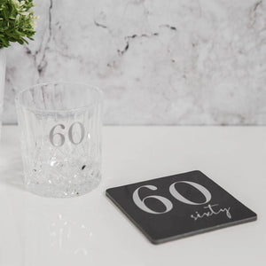 Whisky Glass & Coaster Set for 60th Birthday - Caths Direct